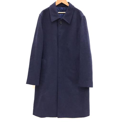 1円 アクアスキュータム サイズ 38 長袖 コート アウター ボタン 毛 100% メンズ ネイビー 紺 Aquascutum