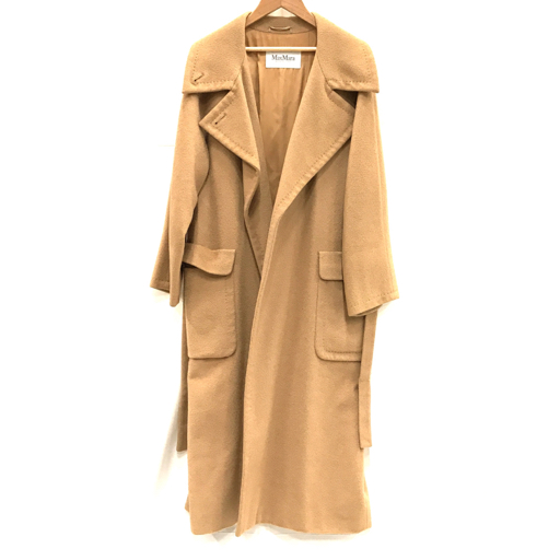 マックスマーラ サイズ 38 長袖 ロングコート アウター ポケット有り キャメル 100% レディース ブラウン MaxMara