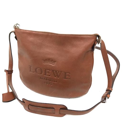 1円 ロエベ ヘリテージ レザー 斜め掛け ショルダーバッグ レディース 鞄 かばん 茶 ブラウン 保存袋付き LOEWE