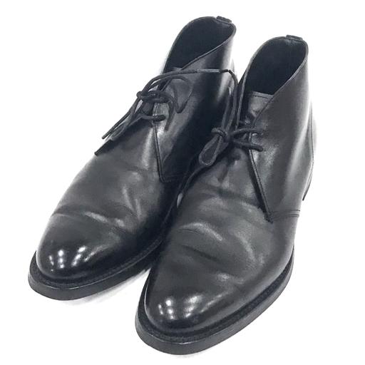 チーニー UK7.5 チャッカブーツ レザー メンズ 黒 ブラック 1886/F X61935 紳士靴 CHEANEY