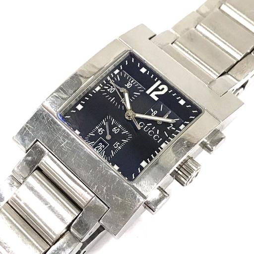 1円 グッチ 腕時計 7700 chrono スクエア クロノグラフ 黒文字盤 SV金具 クォーツ メンズ 稼働品 GUCCI