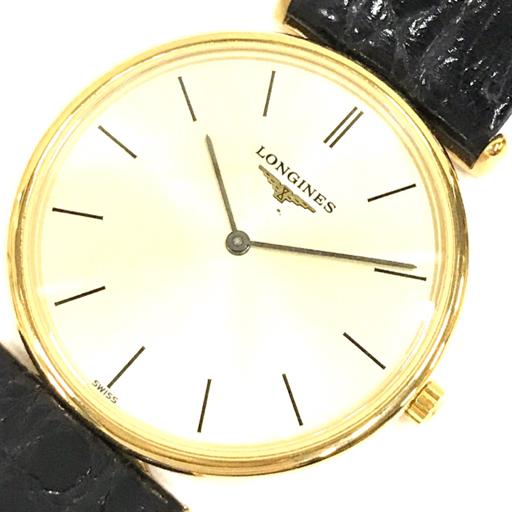 1円 ロンジン 腕時計 L4 658 2 ラ・グランクラシック ラウンド GD金具 クォーツ メンズ 純正ベルト LONGINES