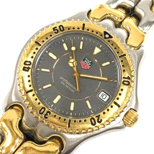 1円 タグホイヤー 腕時計 WG1120-0 プロフェッショナル 200m デイト コンビ金具 クォーツ メンズ 純正ベルト 稼働