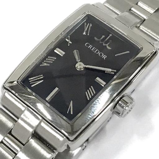 1円 クレドール シグノ アクア 5A70-0AD0 クォーツ 腕時計 ブラック文字盤 SS レディース 稼働品 純正ブレス CREDOR