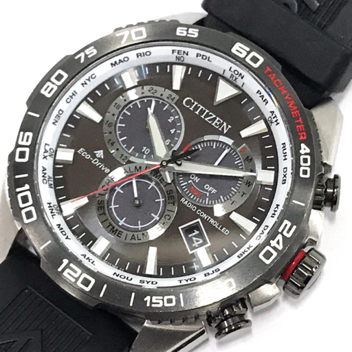 シチズン エコドライブ プロマスター 電波 腕時計 E660-R010522 メンズ 稼働品 純正ベルト 付属品あり CITIZEN