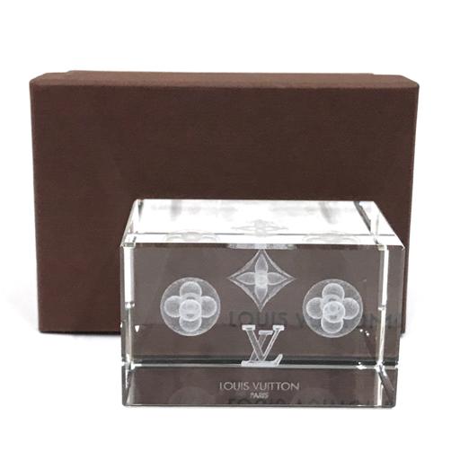 1円 美品 ルイヴィトン ノベルティ ホログラム クリア ペーパーウエイト 3D クリスタル 外箱付き LOUISVUITTON