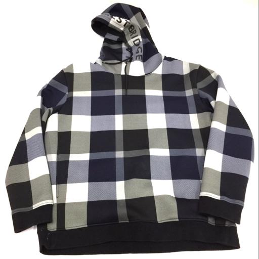 ブラックレーベル クレストブリッジ LL コットン混 長袖 パーカー メンズ 黒×紺×グレー BLACK LABEL CRESTBRIDGE
