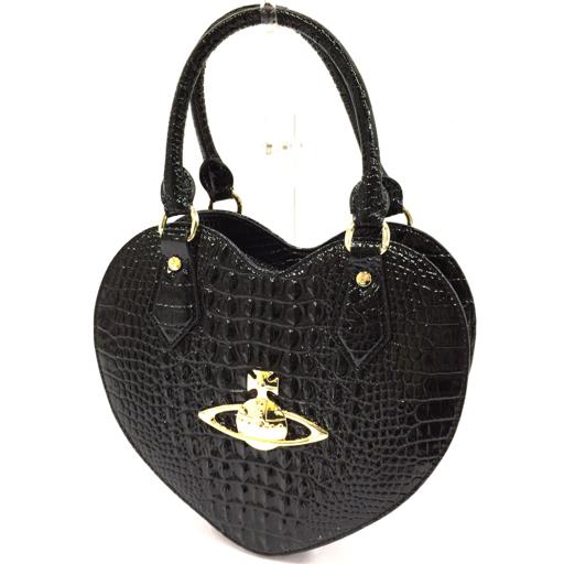 美品 ヴィヴィアンウエストウッド クロコ 型押し パテント ハート型 ハンドバッグ 黒 ゴールド金具 Vivienne Westwood