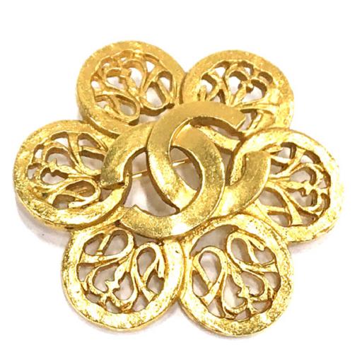 シャネル ブローチ ココマーク フラワーモチーフ ゴールド金具 直径約4.5cm 95A刻 アクセサリー CHANEL