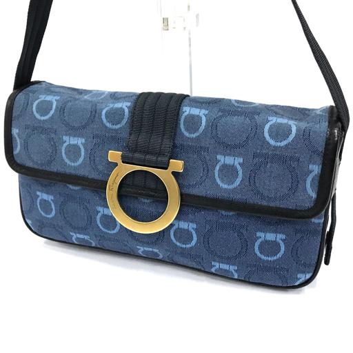 サルヴァトーレ・フェラガモ ガンチーニ ショルダーバッグ キャンバス 保存箱 保存袋付き ブルー 鞄 カバン