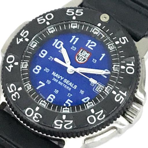 ルミノックス ネイビーシリーズ デイト クォーツ 腕時計 メンズ 稼働品 ブルー文字盤 ケース付き 純正ベルト LUMINOX