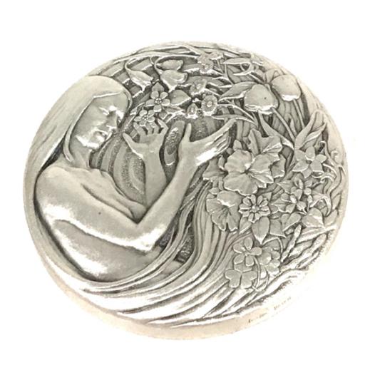 美品 造幣局 平成十六年 桜の通り抜け記念メダル 春の息吹 御衣黄 55mm 135g 純銀 付属品有り