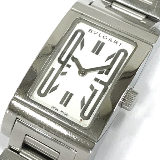 1円 ブルガリ 腕時計 レッタンゴロ Rettangolo RT39S スクエア SV金具 クォーツ レディース 純正ベルト BVLGARI